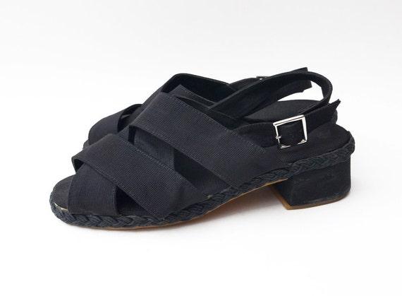 Vintage Black satin peep toe strap heels