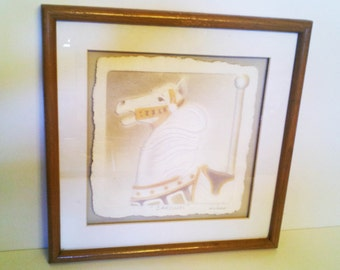Vintage Wesley Wess Smith Pressed Paper Carousel Horse Wall Hanging