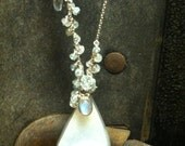 Druzy Sterling Silver, Aquamarine & Moonstone  Asymmetrical Mystic Necklace  Made to order