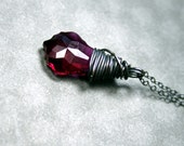 Ruby Swarovski briolette Oxidized sterling silver wire wrapped necklace Beadtriss Lane  Bridal jewelry girlfriend gifts