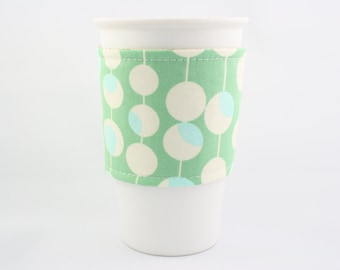 ReFluff, eco friendly, hand made, bubble print, coffee cozy, tea cozy, upcycled, modern print, starbucks, mint, amy butler