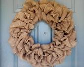 Burlap Wreath - X-Large 25 inch - Tan Burlap Wreath