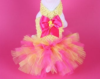 EASTER -- Yellow & Pink DOG TUTU Dress