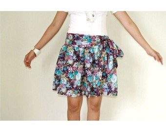 Purple Floral Mini Skirt Screenprinted Cotton with Sash Belt