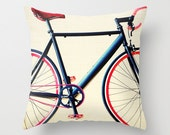 Pillow Cover, Bicycle Pillow, Spring Decor, White Pillow, Red Pillow, love pillow, blue Pillow, bicycle art, navy pillow, couch pillow