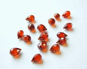 destash orange citrine faceted briolette beads