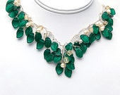 Emerald Green Statement Necklace, Vintage Style Bib Necklace, Green Leaf Necklace, Bridal Jewelry, Emerald Green Nature Jewelry