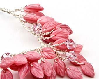 Pink Beaded Necklace, Bib Necklace, Leaf Necklace, Nature Jewelry Pretty in Pink