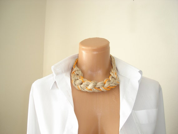 linen necklace,Organic, Orange and linen...
