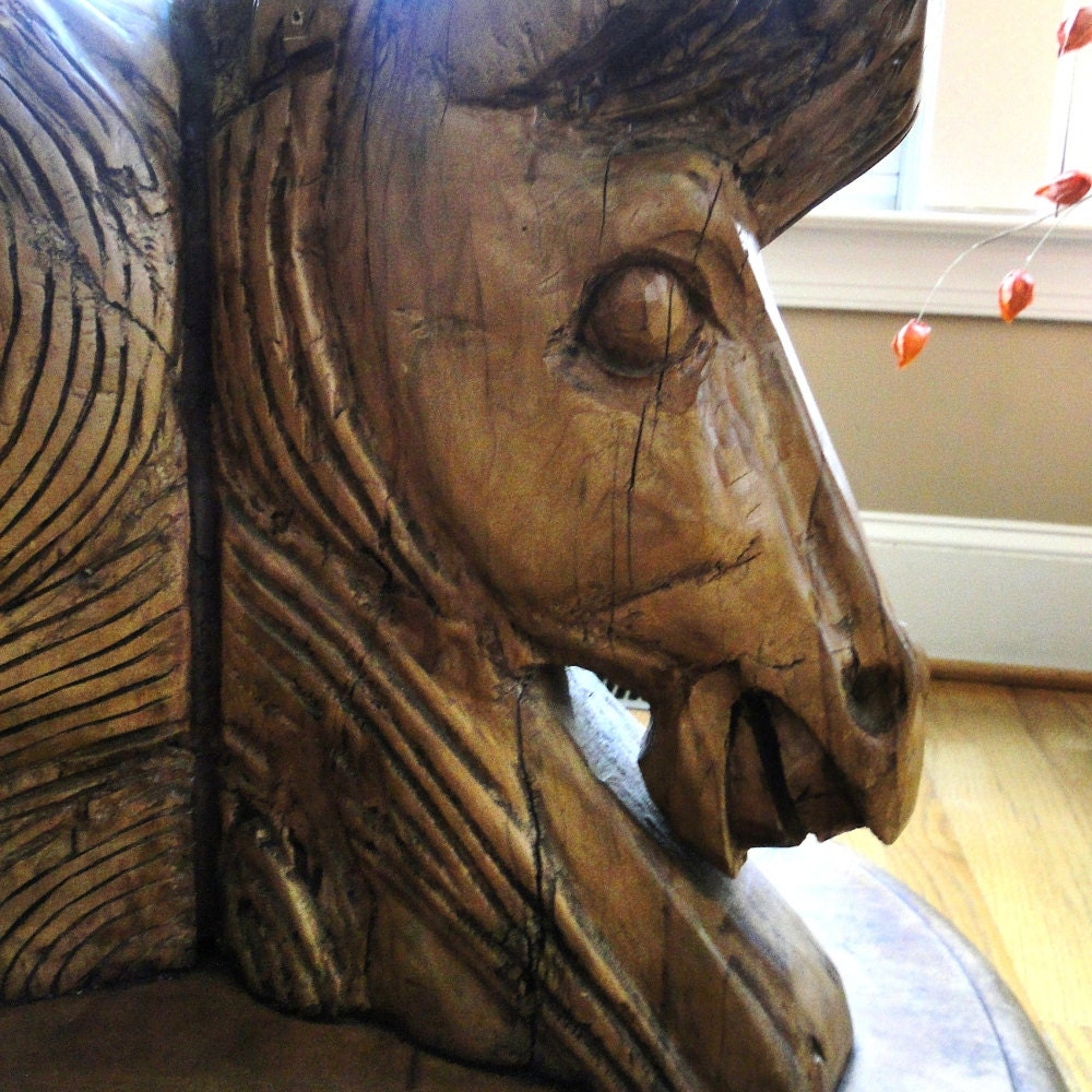 Vintage Wood Table Hand Carved 3 Horse Head Wooden Detailed