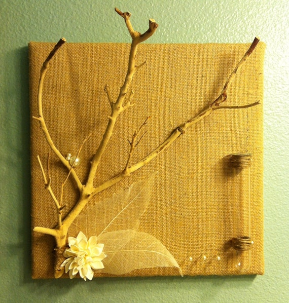 Burlap and Branch Jewelry Display with Bud Vase