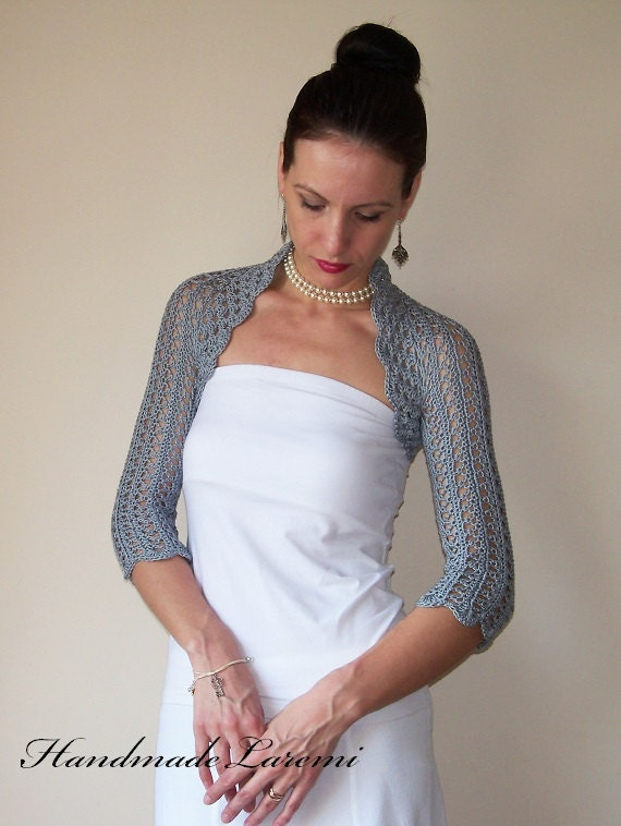 Gray WEDDING BOLERO SHRUG cotton lace crochet bolero jacket