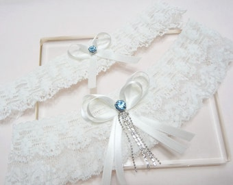 Something Blue Garter Set, Wedding Garter Set, White Garter Set, Lace Garter Set