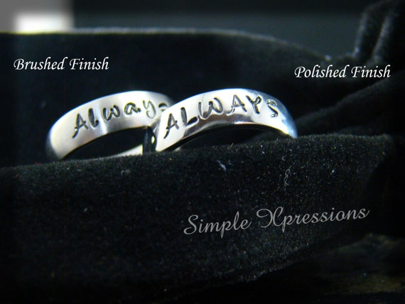 2 Rings - Matching Promise Rings - Brushed or Polished Stainless Steel Hand Stamped Rings