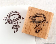 50% OFF SALE Flute playing girl Rubber Stamp