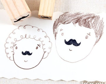 Mustache Rubber Stamp 2set