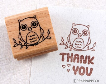 50% OFF SALE Owl sits on the branch O1 Rubber Stamp