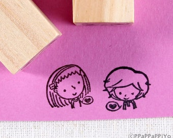 Boy and Girl Rubber Stamps set