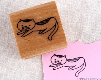 40% OFF SALE quietly cat Rubber Stamp
