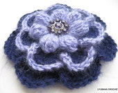 CROCHET PATTERN FLOWER Brooch, Crochet Flower Brooch Pattern, Big Flower Brooch Crochet Tutorial, Instant Download Pdf Pattern No.81