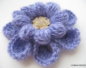 CROCHET FLOWER PATTERN, Mohair Crochet Brooch, Flower Brooch, Diy Flower Instant Digital Download Pdf Pattern No.82