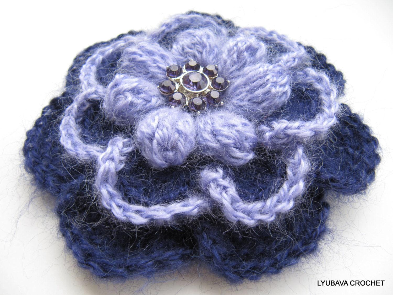 Crochet A Flower Brooch Pattern : Crochet PATTERN Flower Brooch-Crochet Flower Brooch