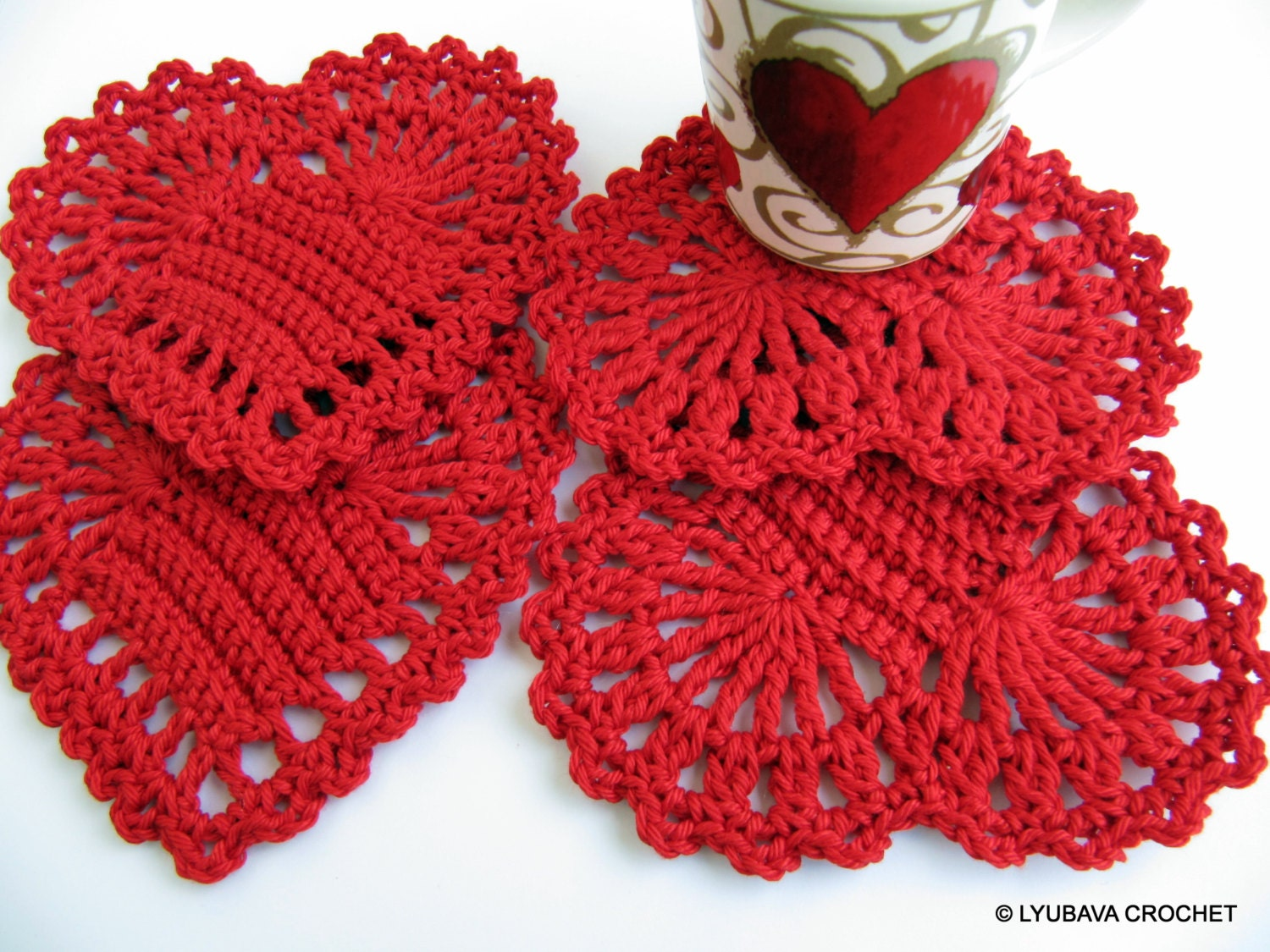 Crochet Patterns Hearts : CROCHET Heart PATTERN Heart Coasters Valentines by LyubavaCrochet