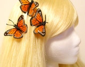 3 Monarch Butterfly Hair Bobby Clip Orange Feather Wedding Bride Bridesmaid Flower Girl Woodland Fairy Teen Natural Bug Costume Garden Nymph