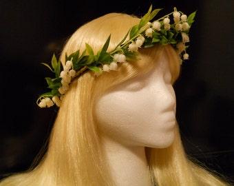 Head Wreath, Flower Crown, Lily of the Valley, White, Green, Wedding, Bride, Spring, First Communion, Flower Girl, Greek, Roman, Kawaii, Elf