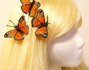 3 Monarch Butterfly Hair Bobby Clip Orange Feather Wedding Bride Bridesmaid Flower Girl Woodland Fairy Teen Natural Bug Costume Garden Nymph