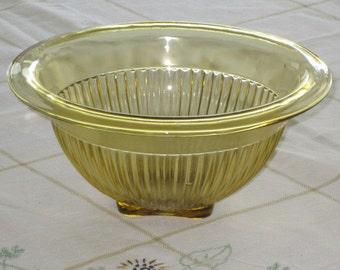 Vintage Amber Depression Glass Ribbed Mixing Bowl Federal Glass Co.