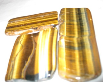 Cabbing slabs - wirewrapping -Tigereye agate / polished