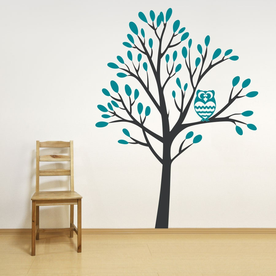 Nature Wall Decor Stickers : Foot owl in a tree wall decal sticker nature