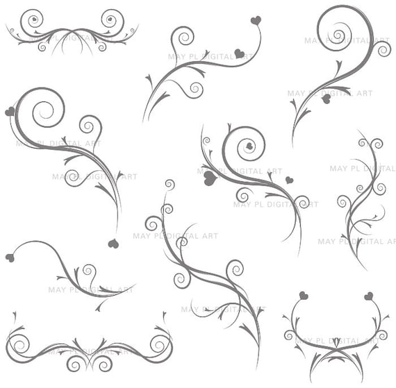 Vintage Flourish Clip Art GREY GRAY Swirls by MayPLDigitalArt