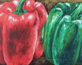 Original Peppers Painting Kitchen Art Home Decor Acrylic Paint