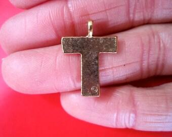"""Letter """"T"""" Antique Gold INITIAL Pendant/Charm"""