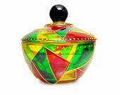 Sugar Bowl / Hand Painted Glass Accent A La Transparent Stained Glass Sugar Bowl Wedding Gift Present