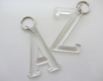 INITIAL Resin Key Chain,Bag Tag,Key Fob,Key Ring,Clear.
