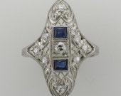 Ladies Platinum Diamond and Blue Sapphire Filigree Ring