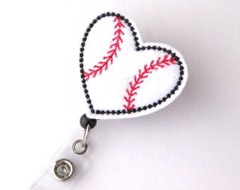 Love Baseball - Name Badge Holders - Cute Badge Reels - Pediatric Retractable ID Badge Holder - Felt Badge Reel - RN Badge - BadgeBlooms