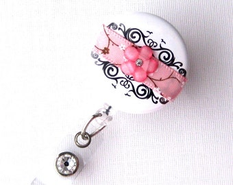 Cherry Blossom Damask - Retractable ID Badge Reel - Chic Badge Holder - Fancy Badge Reels - Nurse Gift Idea - BadgeBlooms