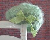 Knitting/Crochet lace beret hat - Sea Green - Designed for Blythe