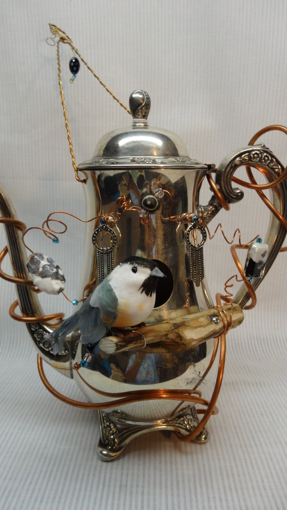 ... Whimsical, Handmade, Recycled SIlver Plated teapot Birdhouse BH- 014