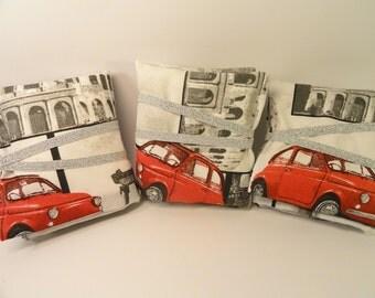 TRAVEL Set Roma - 500 Vespa Colosseo -Jewelry Case Organizer - Mending kit - SEWING Kit - Sanitary pads - Medicine Case - Cosmetics CASE