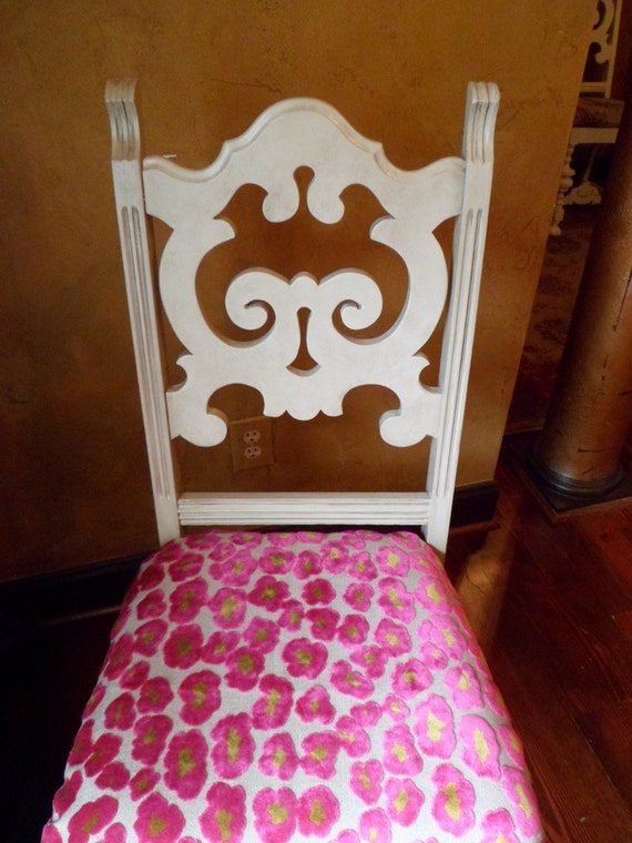 Antique French  Dining Chair Ornate Hand Painted Khaki