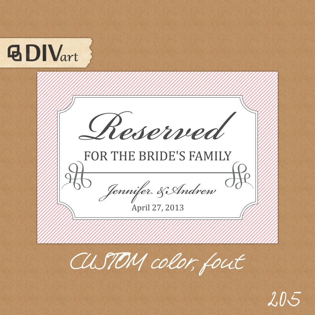 Printable 7x5 wedding reserved table sign reserved for by art