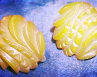 Vintage Green Carved Bakelite Earrings with Screw Backs