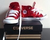 Toddler's high-top sequined converse