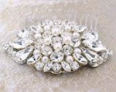 Crystal and pearl bridal hair comb, Swarovski rhinestone wedding headpiece