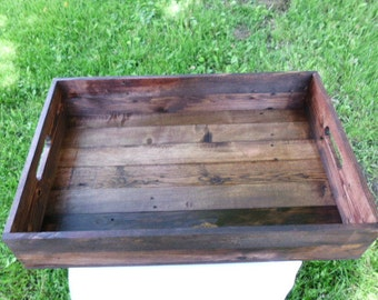 Reclaimed Wooden Serving Tray With Red Mahogay, Cocktail Tray, Breakfast Tray, Ottoman Tray, Table Decor, Kitchen Decor